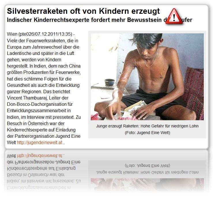 [ Globalisierung! ]: Silvesterraketen oft von Kindern erzeugt!
