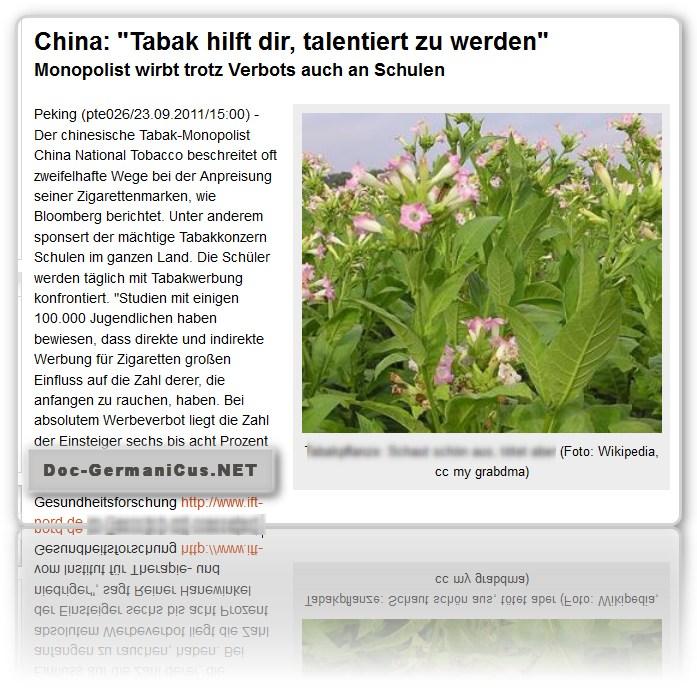 """[ Werbung! ]: China: """"Tabak hilft dir, talentiert zu werden"""" !"""