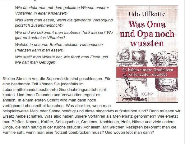 [ WISSEN! ]: Udo Ulfkotte Was Oma und Opa noch wussten!