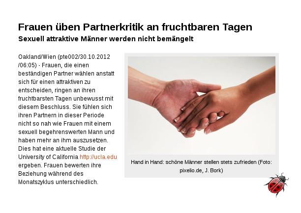[ Zicken! ]: Frauen üben Partnerkritik an fruchtbaren Tagen!