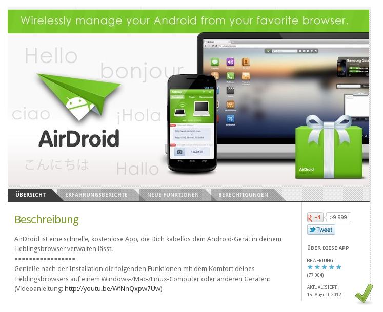 [ GENIAL! ]: AirDroid: DAS Schweizer Taschenmesser für Android und PC!