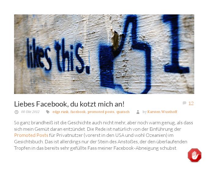 """[ Meinung! } """"Liebes Facebook, du kotzt mich an!"""""""