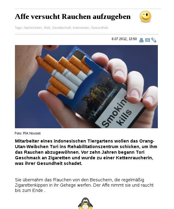 [ AFFIG.!? } Rauchverbot jetzt auch für Affen.!