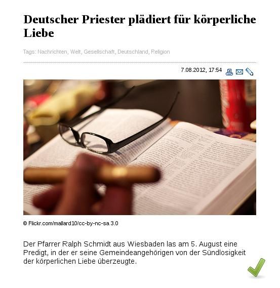 Deutscher Priester plädiert für körperliche Liebe