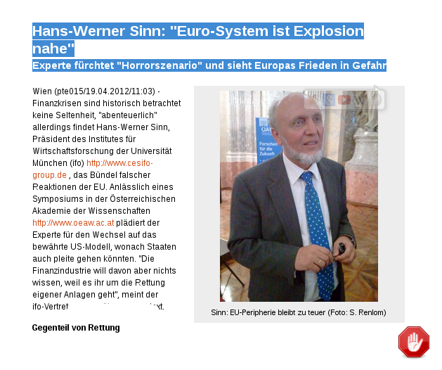 "[ EU.d.SS.r }  ""Euro-System ist Explosion nahe!"""