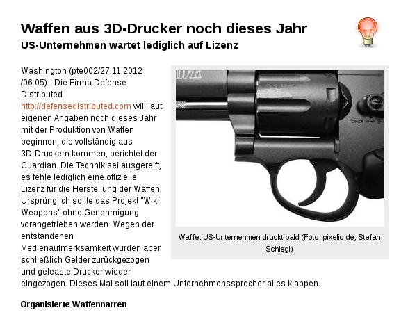 [ BUMM-BUMM! } Waffen aus 3D-Drucker noch dieses Jahr.!?