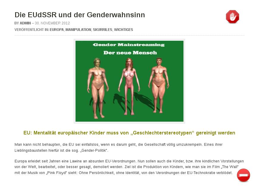 [ HirnFicker! } Die EUdSSR und der Genderwahnsinn!