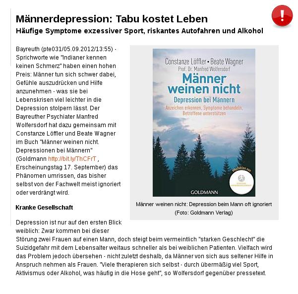 [ Problematisch! } Männerdepression: Tabu kostet Leben!
