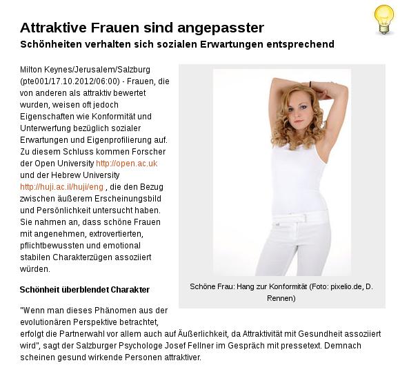 [ Konformismus } Attraktive Frauen sind angepasster!