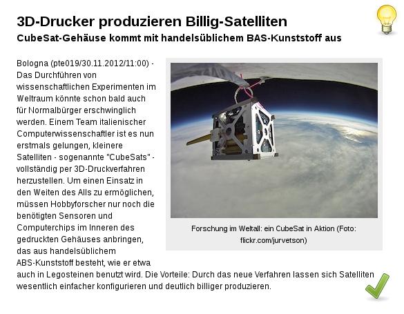 [ DruckBar! }  Billig-Satelliten aus dem 3D-Drucker!