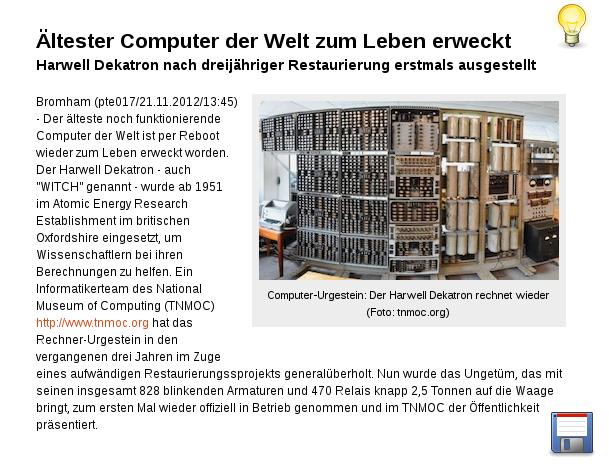 [ UROPA! } Ältester Computer  zum Leben erweckt!