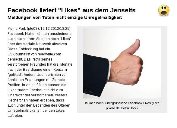 """[ MYSTISCH! } Facebook liefert """"Likes"""" aus dem Jenseits!"""
