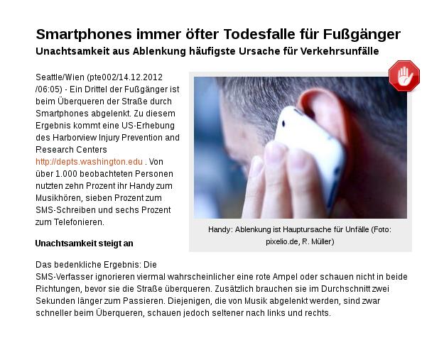 [ Tödliche Trance! } Smartphones immer öfter Todesfalle für Fußgänger!