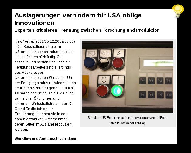 US-Experten sehen Innovationsmangel