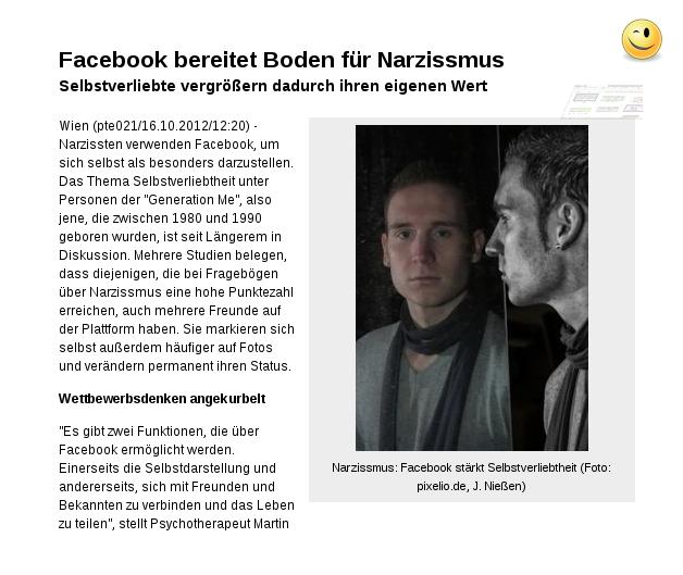 Narzissmus: Facebook stärkt Selbstverliebtheit!