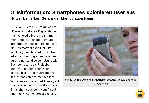 [ BigBrother! }  Smartphones spionieren User aus!