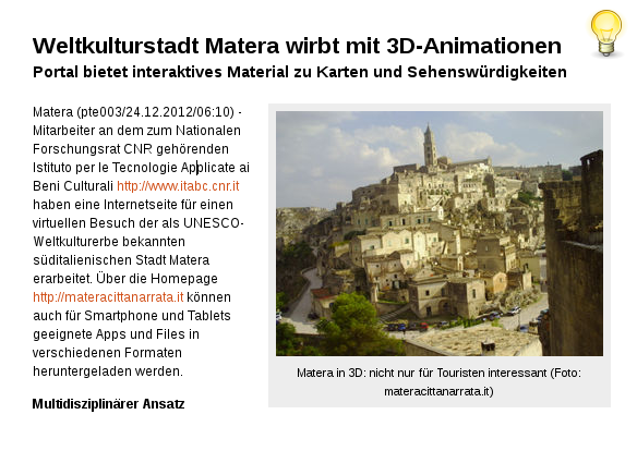 [ Virtuell } Weltkulturstadt Matera interaktiv in 3D!