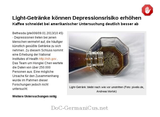 [ ST0P! } Light-Getränke können Depressionsrisiko erhöhen!