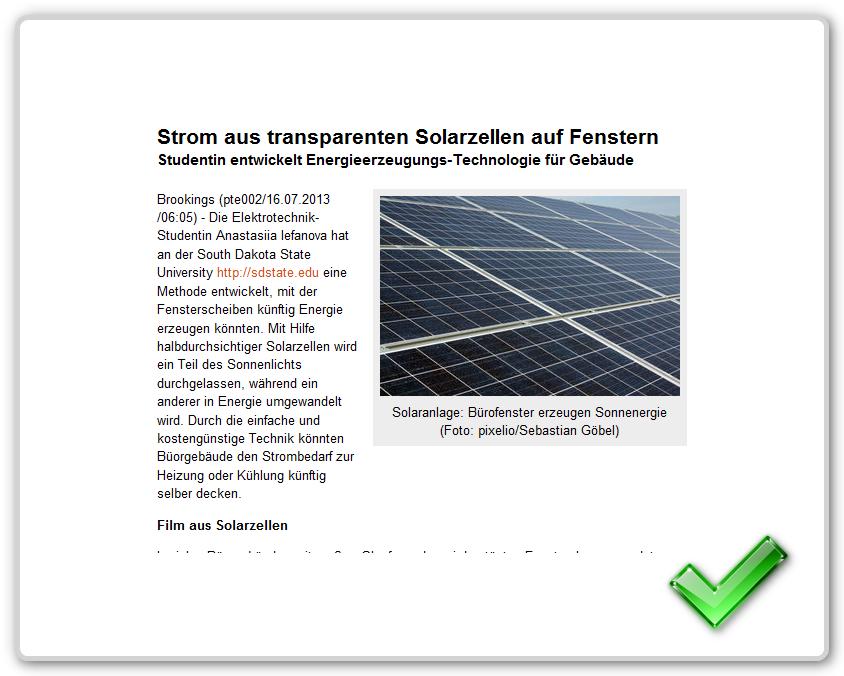[ ENERGIE! } Transparente Solarfenster erzeugen Strom!
