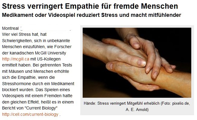 [ STRESS!!! } Stress verringert Empathie für fremde Menschen!