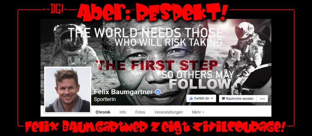 Felix Baumgartner: Ein Mann steht zu seiner Meinung! Screenshot von: https://www.facebook.com/FelixBaumgartner/