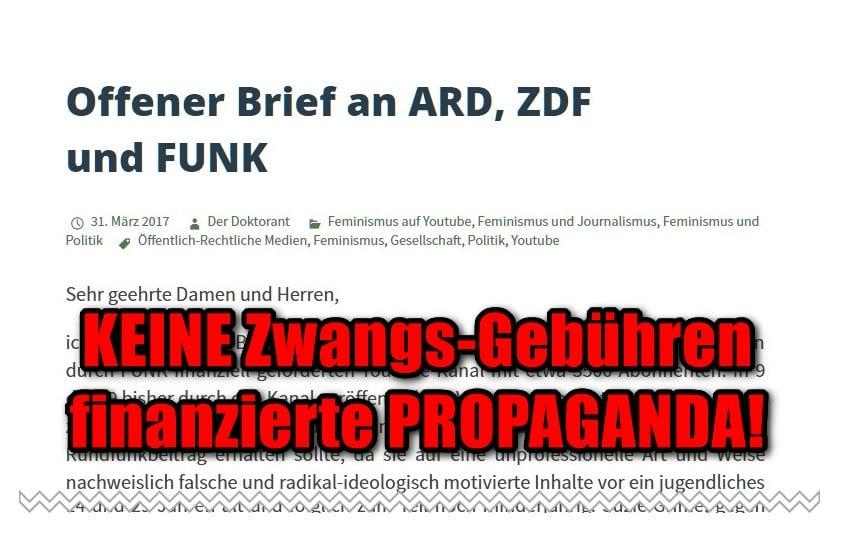 [ Empört Euch! } Der Doktorant: Offener Brief gegen GEZ finanzierte Propaganda!