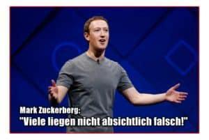 """Mark Zuckerberg (Facebook): """"Viele liegen nicht absichtlich falsch!"""""""