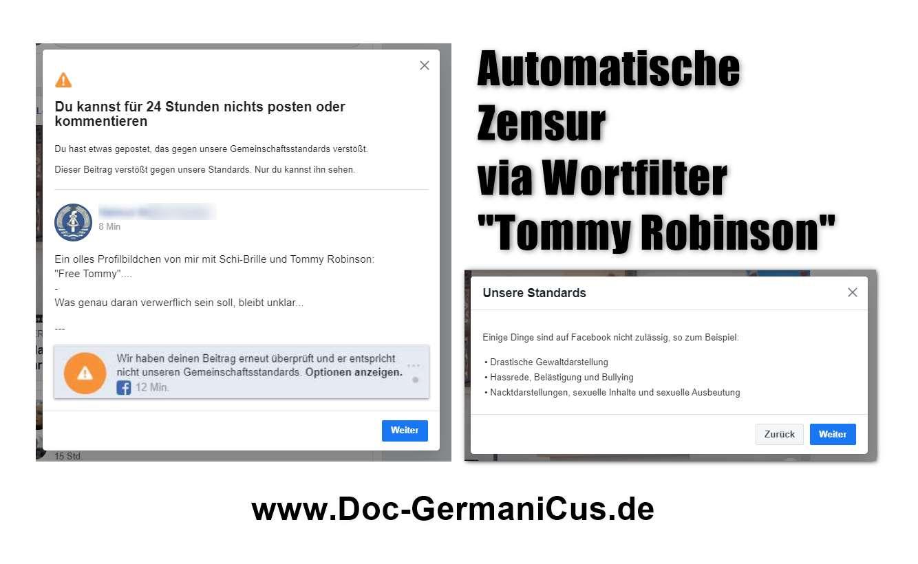 """FB-Wortfilter & Zensur! """"Tommy Robinson"""" führt zu Beitragslöschung UND Sperre!"""