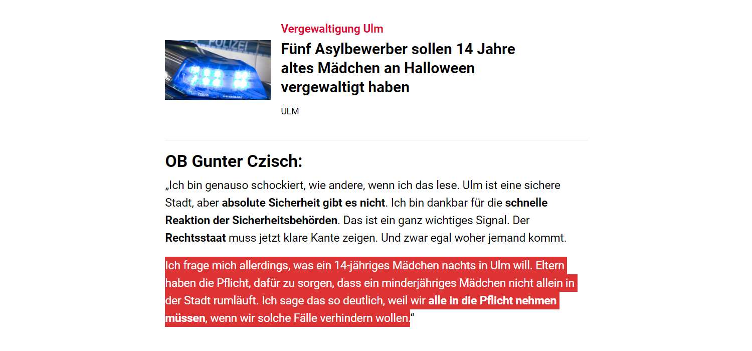 SWP.de: Vergewaltigung Ulm Fünf Asylbewerber sollen 14 Jahre altes Mädchen an Halloween vergewaltigt haben