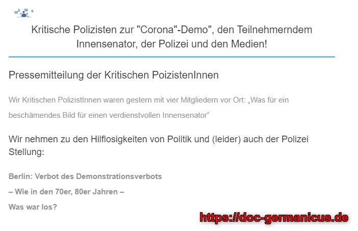 """Kritische Polizisten zur """"Corona""""-Demo"""", den Teilnehmerndem Innensenator, der Polizei und den Medien!"""