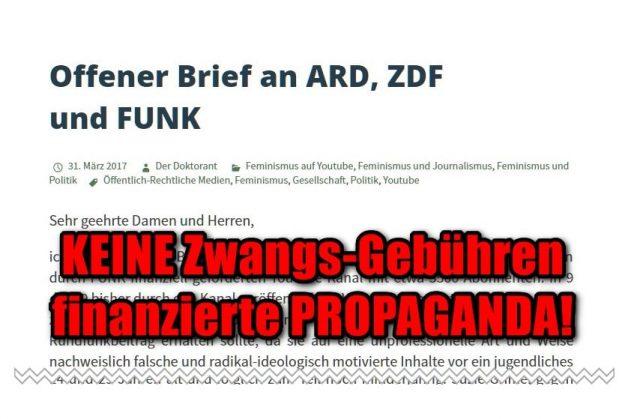 Der Doktorant: Offener Brief an ARD, ZDF und FUNK