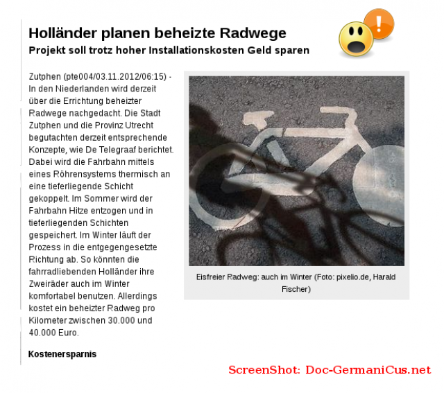Holländer planen beheizte Radwege Projekt soll trotz hoher Installationskosten Geld sparen