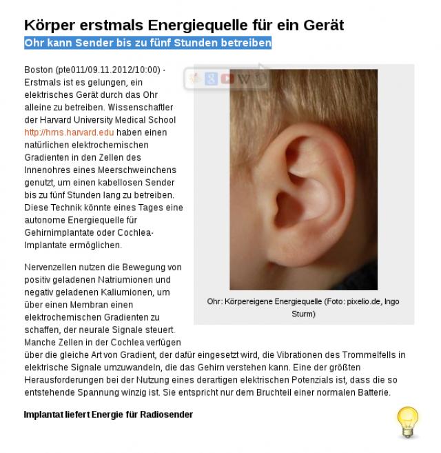 Freie Energie: Ohr kann Sender betreiben!
