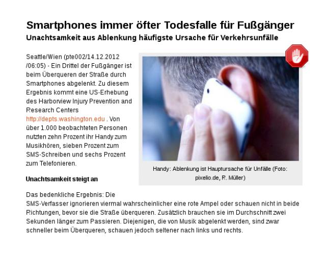 Handy: Ablenkung ist Hauptursache für Unfäll