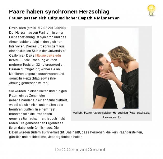 Paare haben synchronen Herzschlag